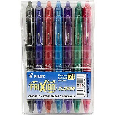 Pilot Frixion 7-pack Fine Point Gel Pen Ball Clicker Erasable Ink Pens Color Set