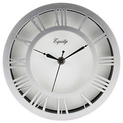 20862 Equity by La Crosse 8 Silver Nickel Metal Floating Dial Analog Wall Clock