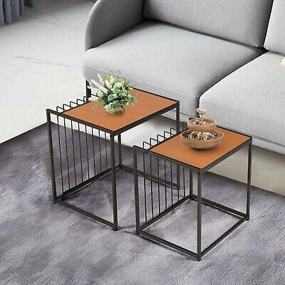 Space Nesting End Table Set of 2 Coffee Table Small Space Living Room Side Table