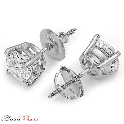 4ct Round Cut Solitaire Stud Earrings in Solid 14k Real White Gold Screw Back