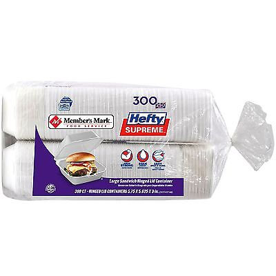 Hefty Foam 1 Compartment Togo 300 Ct. Hinged Boxes Take Out Tray Containers