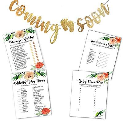 Baby Shower Games Bundle With Coming Soon Gold Glitter Banner- Set Of 4 Games - Games With Babies