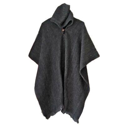 BLACK LLAMA WOOL MENS HOODED PONCHO CAPE COAT JACKET CLOAK HANDWOVEN JEDI