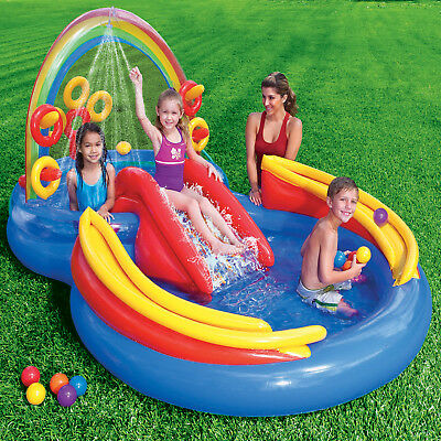 Intex  Pool mit Rutsche Planschbecken Spielhaus Wasserrutsche Kinder Hüpfburg