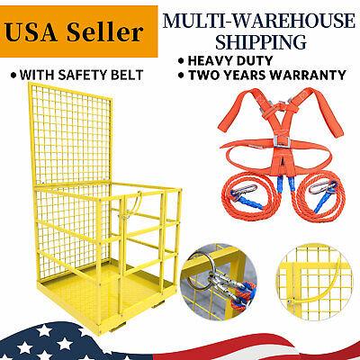 Universal Forklift Safety Cage Telehandlers Lift Work Platform W Safety Harness