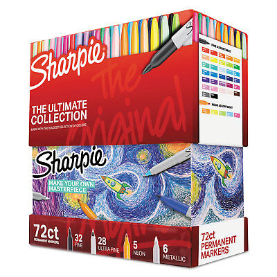 Sharpie Permanent Markers Ultimate Collection Fine Ultra Fine Assorted 72set