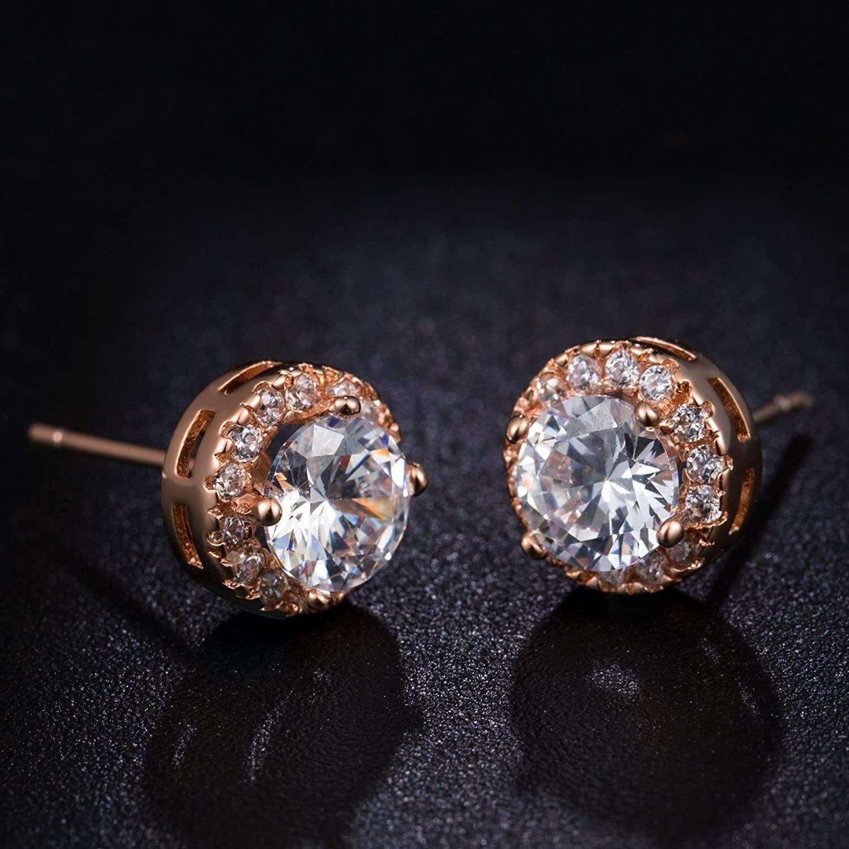 ELEGANT Earrings for Women 18k Rose Gold Plated Beautiful CZ Stud Earrings 3