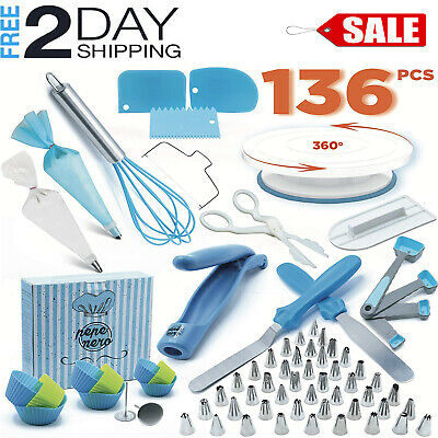 Decorative Cake Stands (136 Set Cake Decorating Kit Supplies Pieces Kit Baking Tools Turntable Stand)