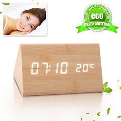 LED Wooden Wood USB/AAA Digital Desk Shelf Alarm Clock, Calendar, Temperature