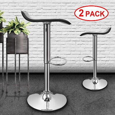 2X Bar Stool Leather Swivel Gas Lift Foot Rest Chair Kitchen Breakfast Seat UK