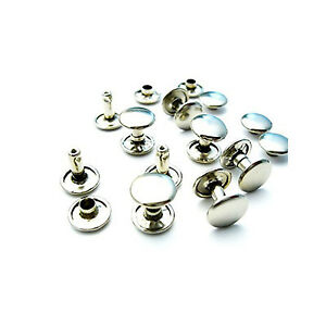 10mm 100 Silver Two Piece Double Cap Tubular Rivets Leather Punk Craft Repair