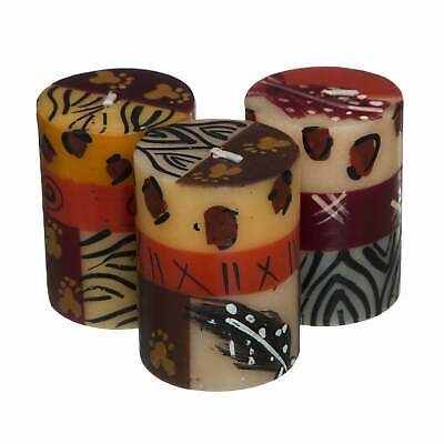 Handmade Uzima Design Mini-Pillar Candles, Set of 3 (South Brown Mini Pillar Candle Set