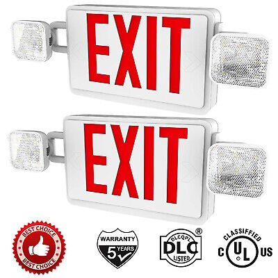 2pack Led Red Exit Sign Emergency Light Exit Sign Battery Combo For Home Ul924
