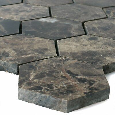 Emperador Braun Marmor (Naturstein Marmor Mosaik Fliesen Xalapa Emperador Hexagon Sechseck Poliert)