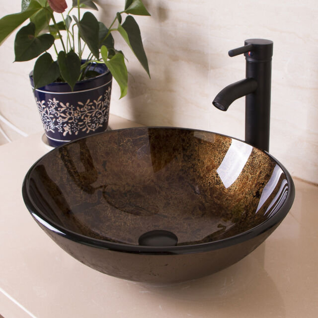 bathroom round glass vessel sink oil rubbed bronze faucet popup drain combo