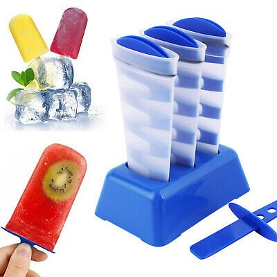 Silicone Frozen Ice Cream Mold 3 Cell Juice Ice Popsicle Maker Mould w/ Sticks