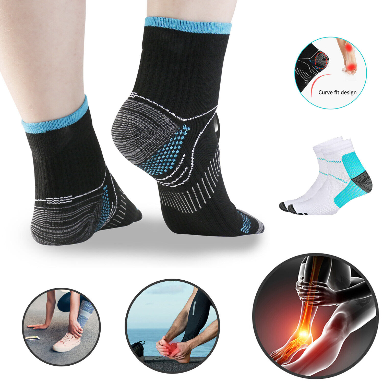 1 or 5 Pair Plantar Fasciitis Arch Ankle Support Compression Socks Sport Running Health & Beauty