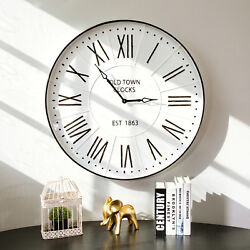 Glitzhome 31.5'' Oversized Farmhouse Metal Enamel Wall Clock Rustic Home Decor