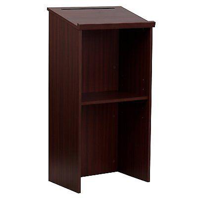 AdirOffice Mahogany Stand up Lectern, Floor-standing Podium, Adjustable Shelf