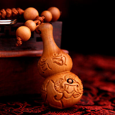 Feng Shui Peach Wood Carved Wu Lou/Hu Lu Guard Key Chain Ring Amulet protection
