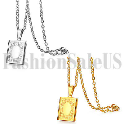 - Mens Womens Retro Stainless Steel Book Locket Photo Pendant Lovers Necklace Gift