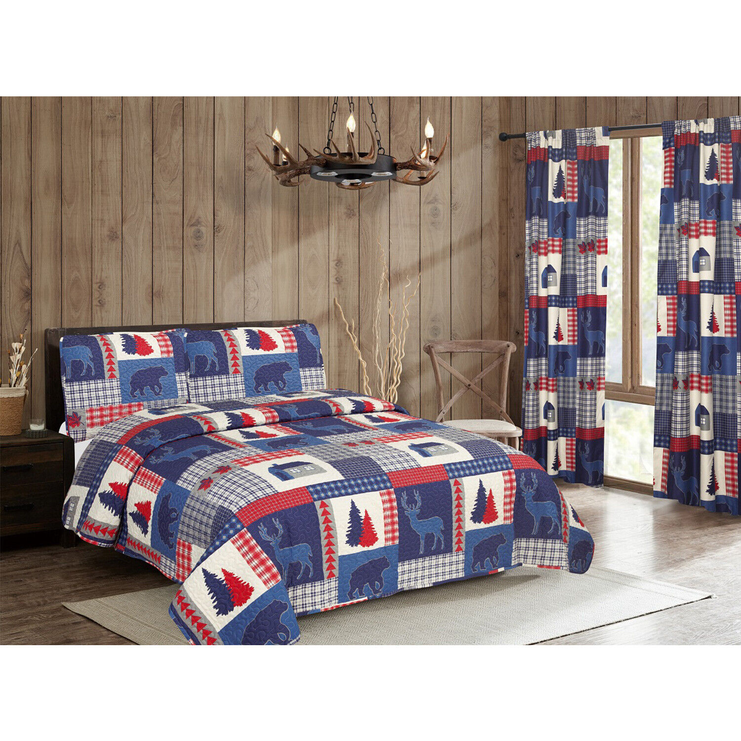 Twin Full/Queen King Rustic Americana Cabin Quilt Bedding Set or Window Curtains Bedding