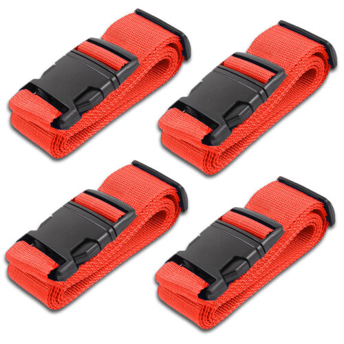 Red Luggage Belts Suitcase Straps Adjustable and Durable, Name Card, Travel Case