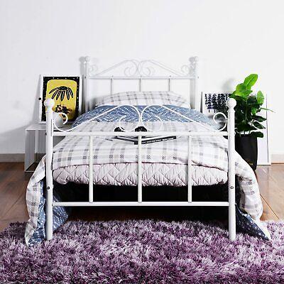DORAFAIR Cama de metal 90x190cm Blanco bastidor de cama cama de diseño...