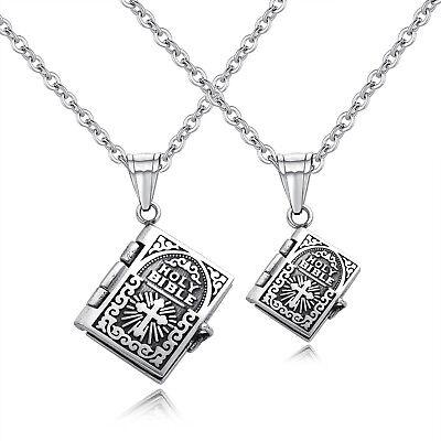 Unisex Open Bible Book Shape Stainless Steel Christian Cross Pendant Necklace