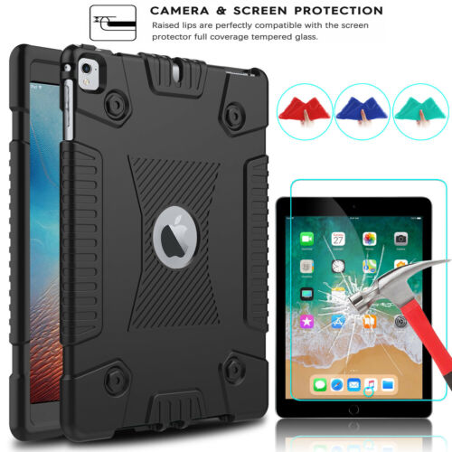 iPad 5th / 6th Generation 9.7 Shockproof Slim Soft Case + Tempered Glass Film Cases, Covers, Keyboard Folios
