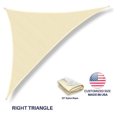 Custom Size Beige Right Triangle Sun Shade Sail Outdoor Canopy Awning Patio Pool ()