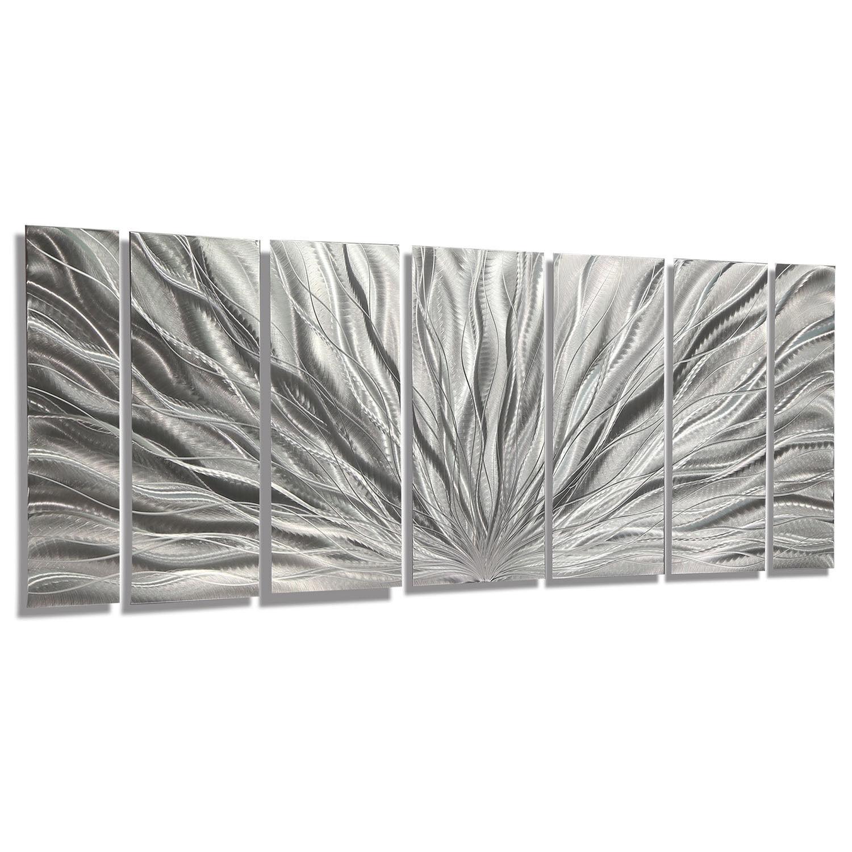 Statements2000 Abstract 3D Metal Wall Art Sculpture by Jon Allen Silver Plumage