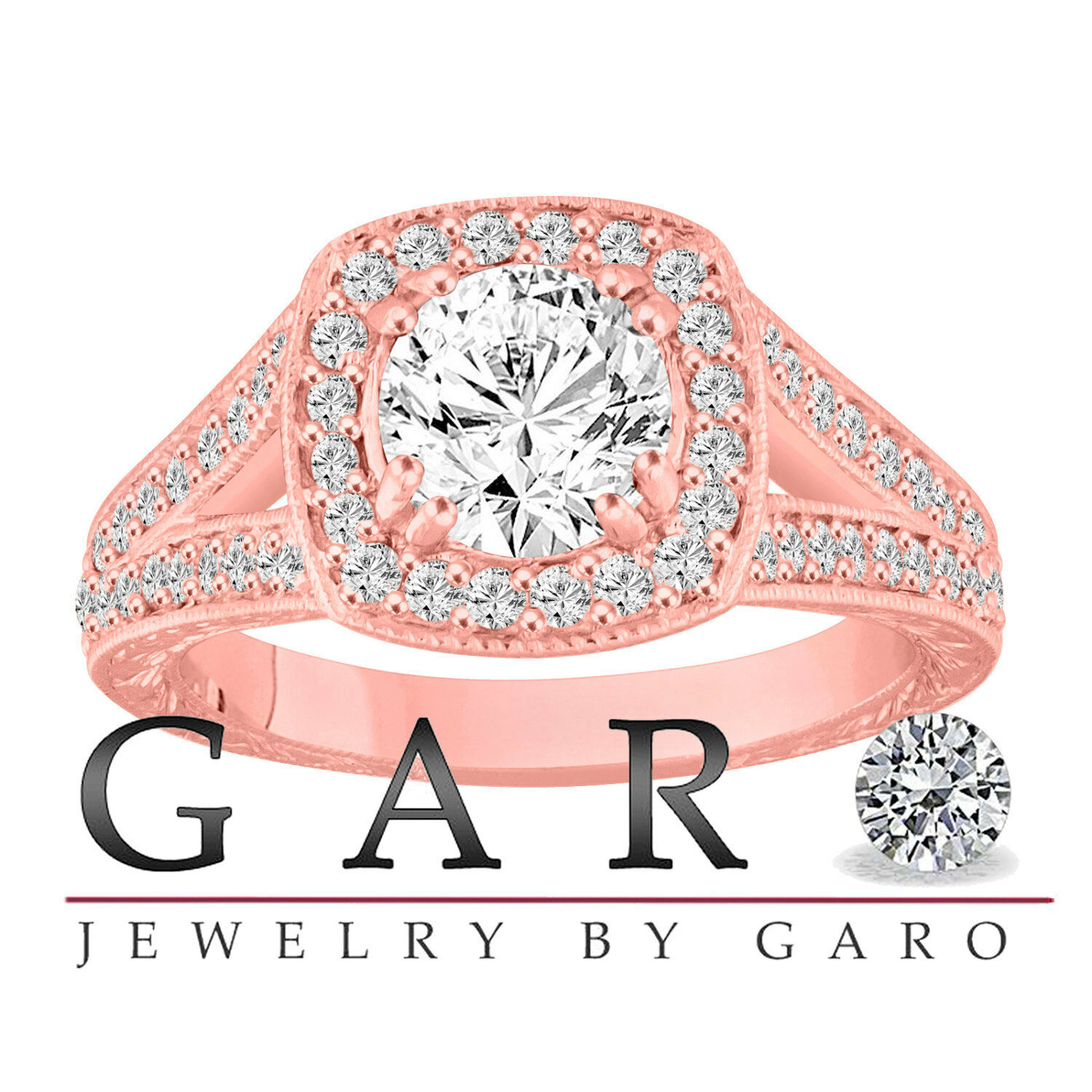 1.46 Carat Diamond Engagement Ring 14K Rose Gold GIA Certified Vintage Engraved  2