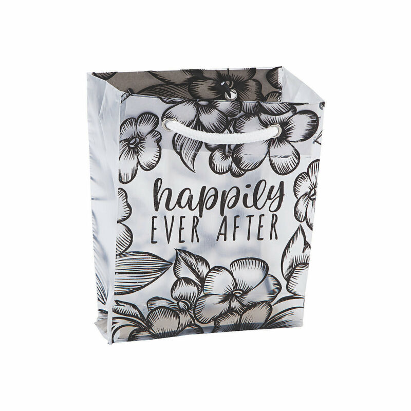 Small Frosted Happily Ever After Wedding Gift Bags - Party Supplies - 24 Pieces