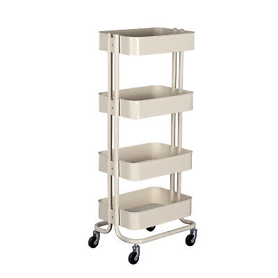 4-shelf Metal Rolling Utility Carts Beigehome Office Storage Trolley Organizer