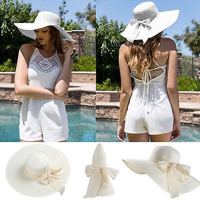 Ivory Women Girls Floppy Straw Hat Wide Large Brim Summer Beach Sun Cap Visor