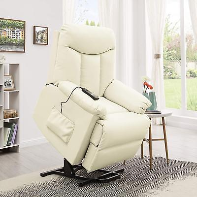 Electric Lift Chair Recliner Cream Leather Power Motion Lounge Seat New