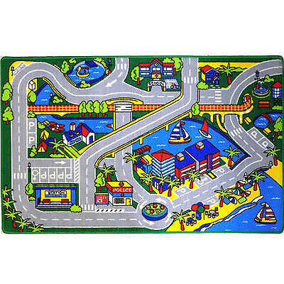 HARBOR MAP KIDS RUG CARS TRUCK CHILDREN PLAY 3 X 5 AREA RUG STREET MAP GRAY2017