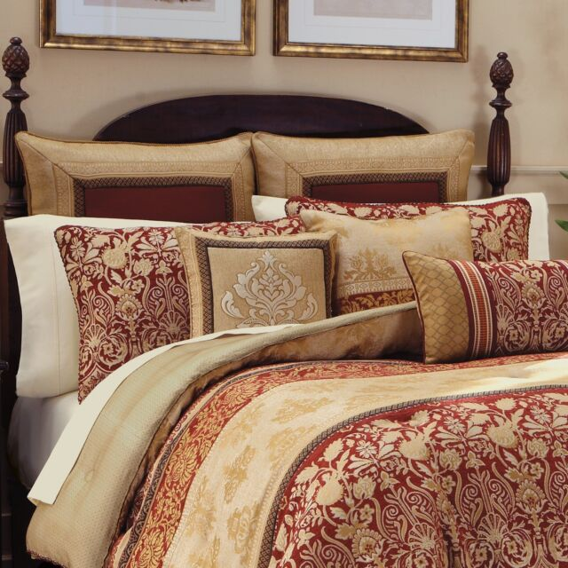 croscill renaissance queen comforter 4 piece set new red gold scarlet - Cal King Comforter Sets