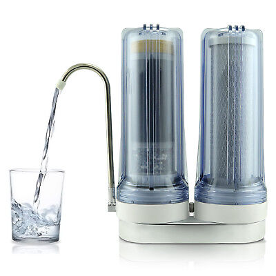APEX EXPRT MR-2050 Dual Countertop Carbon Alkaline pH+ Water Filter System -