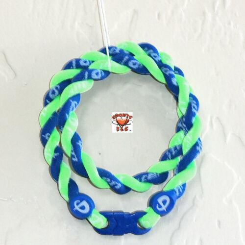 Phiten Tornado Necklace Custom: Optic Green/Royal Blue