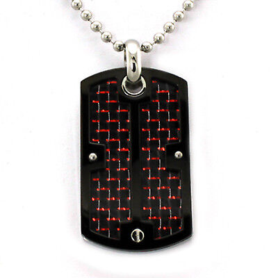 Stainless Steel Dog Tag Screw Accent Pendant with Red & Black Carbon Fiber (Stainless Steel Black Accent)