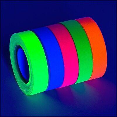 5-Pack UV Blacklight Reactive Fluorescent / Neon Gaffer Tape Matte Finish (va...