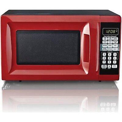 Hamilton Beach 0.7 cu ft Microwave Oven Red Countertop Kitchen Digital Watts NEW
