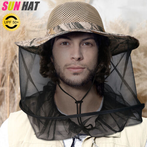 Anti-Mosquito Bug Fly Bee Insect Head Net Hat Sun Cap For Outdoor Fishing Hiking