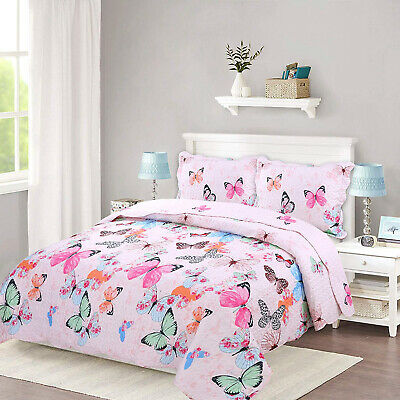 TEEN GIRL COLORFUL BUTTERFLIES QUEEN FULL TWIN QUILT COVERLET SET NEW