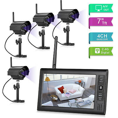 7  Cctv Camera 5V 2 4Ghz Wireless Home Security Lcd Monitor Ir Night Vision Dvr