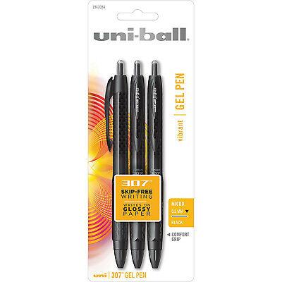 Uni-ball Signo 307 Retractable Gel Ink Pens 0.5mm Micro Black Ink 3-count