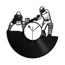 Cricket Vinyl Wall Clock Sports Lovers Unique Gift Home Living Room Decoration