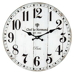 Vintage Wall Clock Country House Style Chef le Normand Paris Shabby 13 3/8in